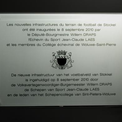 Plaque d'inauguration terrain de football Stockel