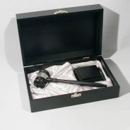 Luxury box and gavel in black ebony