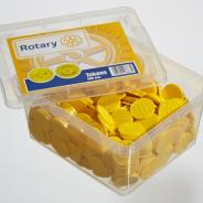 Box with 500 yellow food tokens